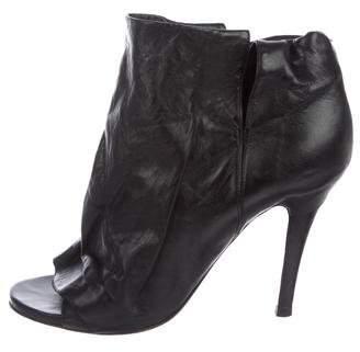 Maison Margiela Leather Peep-Toe Booties