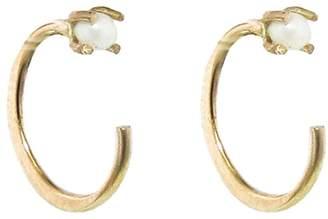 Melissa Joy Manning Tiny Pearl Hug Hoop Earrings - Yellow Gold