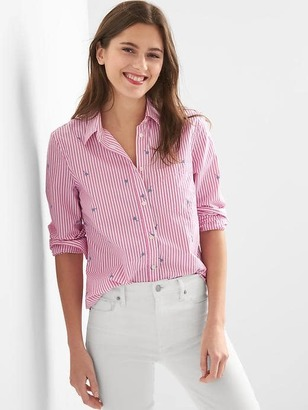 Railroad stripe embroidery fitted boyfriend shirt $54.95 thestylecure.com