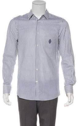 Alexander McQueen Striped Crest Silk-Blend Shirt