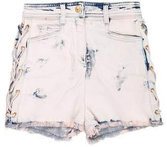 Balmain Distressed High-Rise Shorts