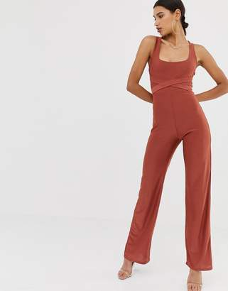 Missguided slinky cross back jumpsuit in rust