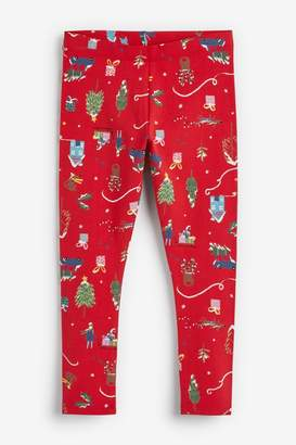 Next Girls Red Christmas Leggings (3-16yrs) - Red
