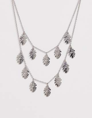 Skinnydip Skinny Dip Silver Palm Leaf Double Necklace