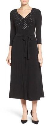 Women's Chaus Embellished Jersey Tie Waist Dress $99 thestylecure.com