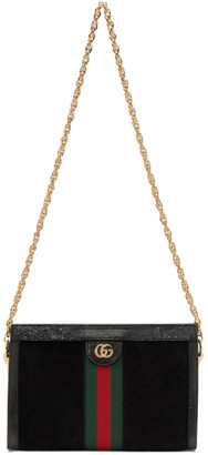 Gucci Black Suede Small Ophidia Chain Bag
