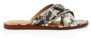 Joie Women's Parsin Python-Embossed Leather Buckled Slide Sandals