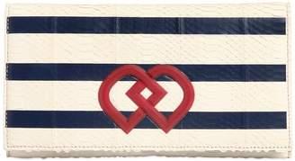 DSQUARED2 Dd Striped Snakeskin Clutch