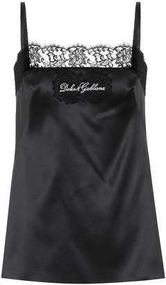 Dolce & Gabbana Lace-trimmed silk satin camisole