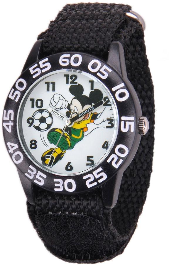 DISNEY Disney Mickey Mouse Soccer Kids Black Nylon Strap Watch