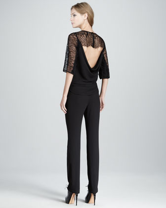 BCBGMAXAZRIA Lace-Top Low-Back Jumpsuit