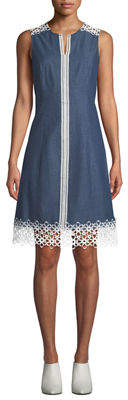Karl Lagerfeld Paris Lace-Trim Denim A-Line Dress