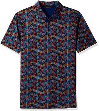 Bugatchi Men's Shaped Fit Self Collar Short Sleeve Shirt