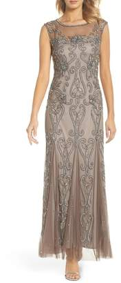 Pisarro Nights Illusion Neck Sequin Gown