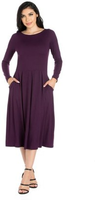 24/7 Comfort Apparel 24seven Comfort Apparel Long Sleeve Fit and Flare Midi Dress