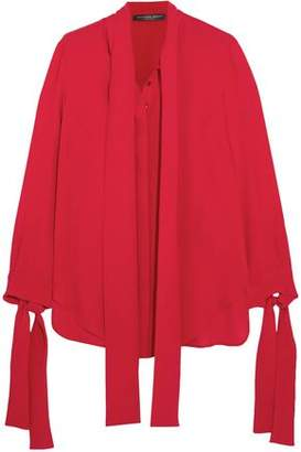 Alexander McQueen Pussy-Bow Silk-Crepe Blouse