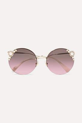 Miu Miu Round-frame Embellished Gold-tone Sunglasses