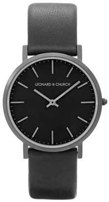 Church's LEONARD AND Leonard & Varick Leather Strap Watch, 40mm