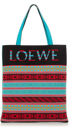 Loewe Striped Knit Logo Tote Bag