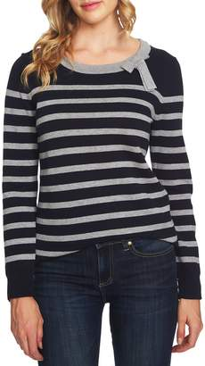 CeCe Bow Detail Striped Cotton Sweater