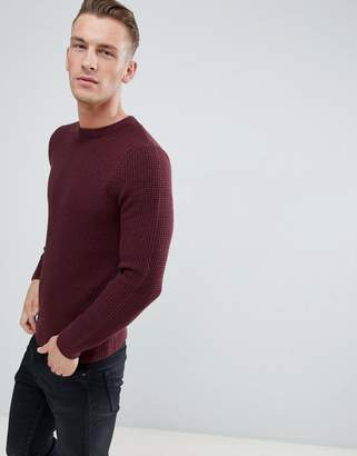 New Look waffle knit sweater in burgundy