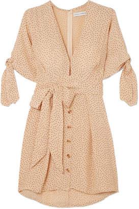 Faithfull The Brand Birgit Tie-detailed Polka-dot Crepe De Chine Mini Dress - Ecru