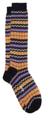 Missoni Fair Isle Knee High Cotton Socks - Mens - Multi