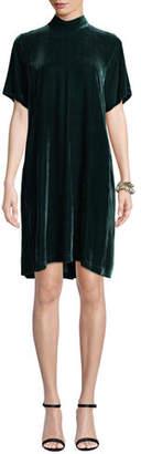Eileen Fisher Mock-Neck Short-Sleeve Tieback Velvet Shift Dress