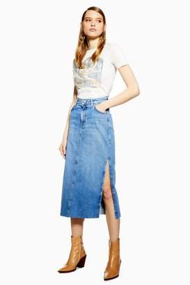 Topshop Womens Petite Side Split Denim Midi Skirt - Mid Stone