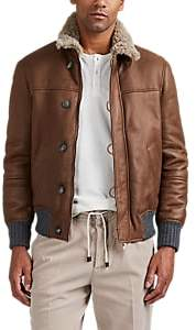 Brunello Cucinelli MEN'S SHEARLING BOMBER JACKET - BEIGE/TAN SIZE M
