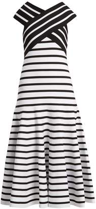 Carolina Herrera V-neck flared-skirt striped dress
