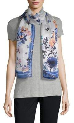 Vince Camuto Shadow Blossoms Silk Scarf