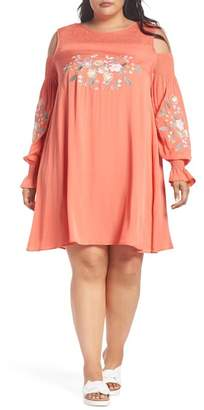 Glamorous Embroidered Cold Shoulder Dress (Plus Size)