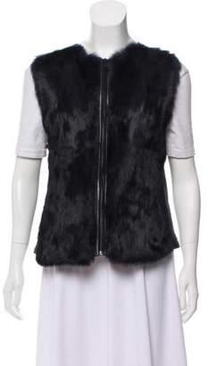 Vince Rabbit Fur Leather Vest