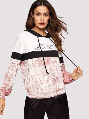 608ab89abf Shein Cut-and-sew Letter Print Crushed Velvet Hoodie