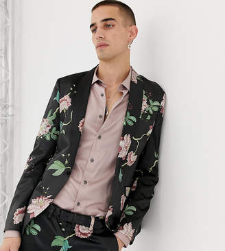 Heart & Dagger skinny fit suit jacket in floral sateen