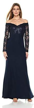 Tadashi Shoji Women's Off Shoulder Sequin Lace Long Sleeve Gown