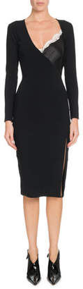 Altuzarra Gianni Cami-Inset V-Neck Long-Sleeve Bodycon Knit Dress