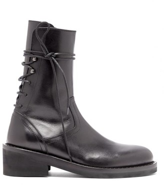 Ann Demeulemeester Lace Up Back Leather Ankle Boots - Womens - Black