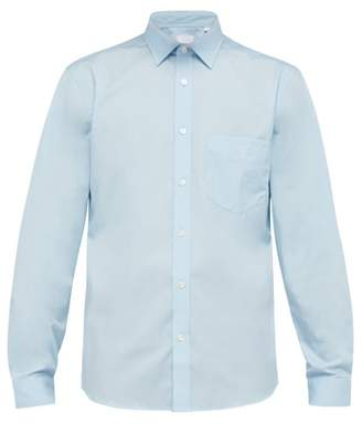 Burberry Logo Embroidered Stretch Cotton Poplin Shirt - Mens - Blue