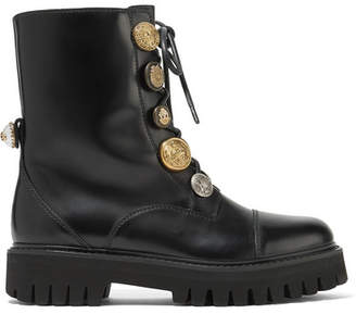 Dolce & Gabbana Embellished Glossed-leather Ankle Boots - Black