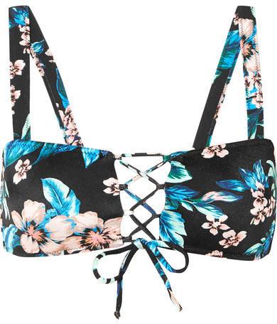 Lace-up Floral-print Bikini Top - Black