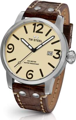 TW Steel Maverick Automatic Leather Strap Watch, 48mm