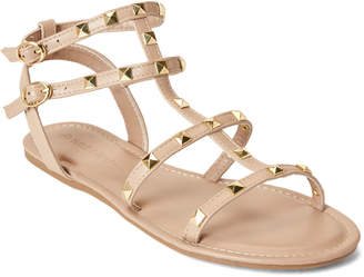 9a557f18333 Wild Diva Lounge Natural Clover Caged Studded Sandals