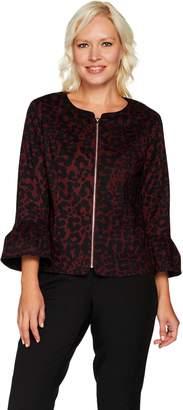 C. Wonder Animal Print Stretch Pique Bell Sleeve Jacket