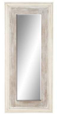 DecMode Decmode Rustic Fir And Pine Wood Full-Length White Wall Mirror, White