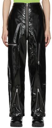 Maison Margiela Black Shiny Coated Zip Trousesr
