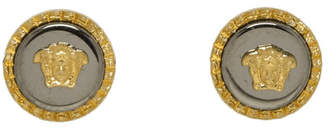 Versace Gold and Silver Medusa Stud Earrings