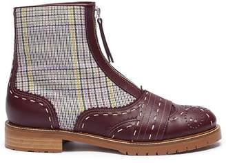 Gabriela Hearst 'Marcela' check plaid panel leather ankle boots