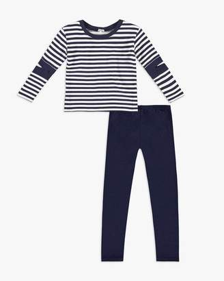 Splendid Little Girl Stripe Cutout Tunic Set